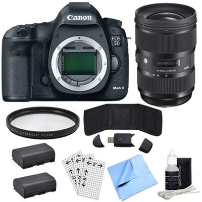 EOS 5D Mark III 22.3 MP Full Frame DSLR Camera & Sigma 24-35mm Lens Power Bundle