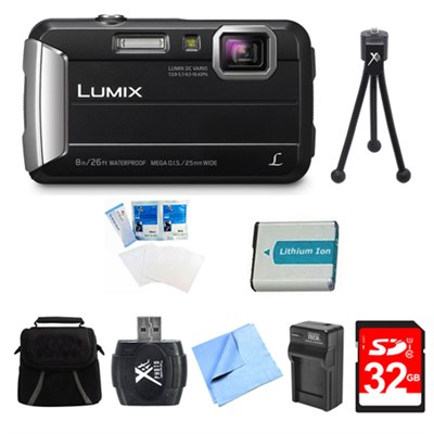 LUMIX DMC-TS30 Active Tough Black Digital Camera 32GB Bundle