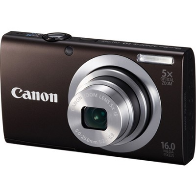 PowerShot A2400 IS 16MP Black Digital Camera 5x Optical Zoom 720p HD Video