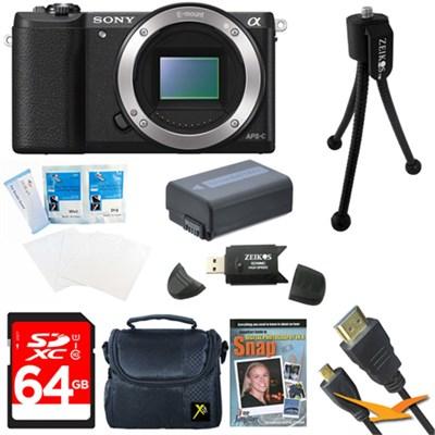 a5100 24.3MP HD 1080p Mirrorless Camera Body Black 64GB Bundle