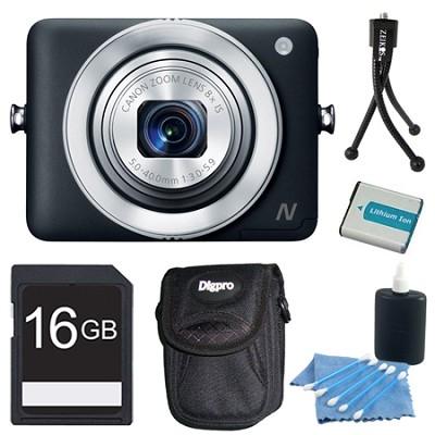 PowerShot N Black 12.1MP Digital Camera 16GB Bundle