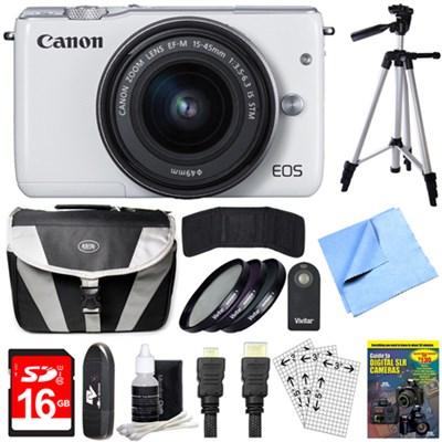 EOS M10 Mirrorless Camera White EF-M 15-45mm f/3.5-6.3 IS STM Lens 64GB Bundle