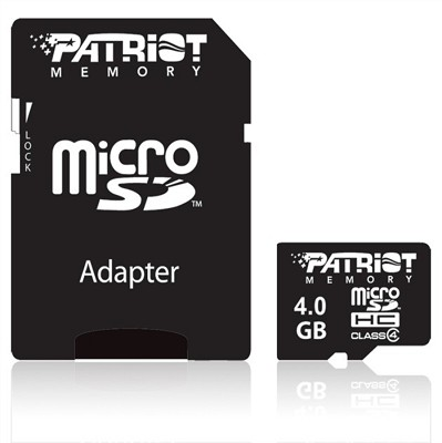 4 GB MicroSDHC Class 4 Flash Memory Card with Standard SD Adapter