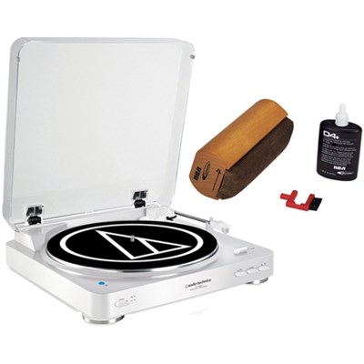 Wireless Belt-Drive Stereo Turntable w/ RCA D4+ Vinyl Record Cleaner, White
