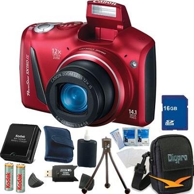 Powershot SX150 IS 14MP 12x Zoom Red Digital Camera 16GB Bundle
