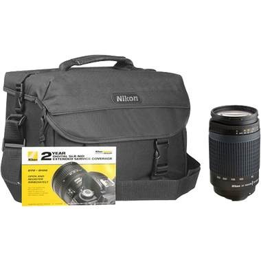 70-300mm Zoom Lens Kit with Gadget Bag  & 2-Year SLR Warranty