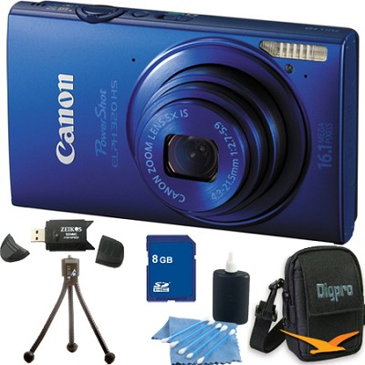 PowerShot ELPH 320 HS 16MP Blue Digital Camera 8GB Bundle