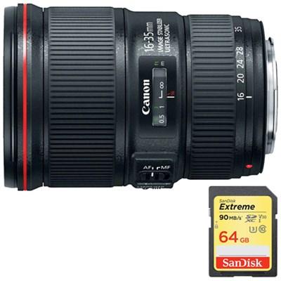 EF16-35mm F4L IS USM Lens with Lexar 64GB Memory Card