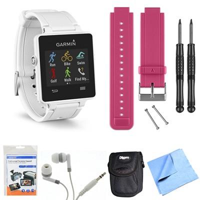 vivoactive GPS Smartwatch - White (010-01297-01) Berry Replacement Band Bundle