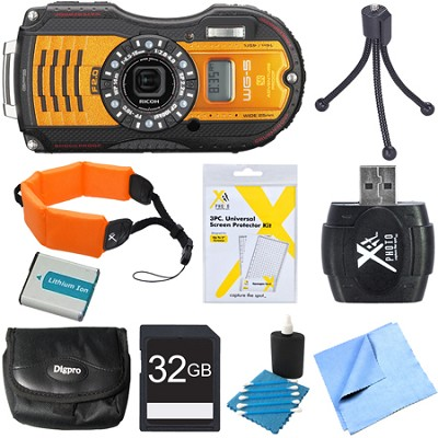 WG-5 GPS 16MP Digital Camera Orange 32GB Bundle