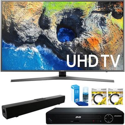 40` UHD 4K HDR LED Smart HDTV 2017 + HDMI DVD Player & Sound Bar Bundle