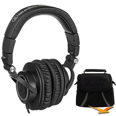 ATH-M50 Professional Studio Headphones with Straight Cable Deluxe Bundle