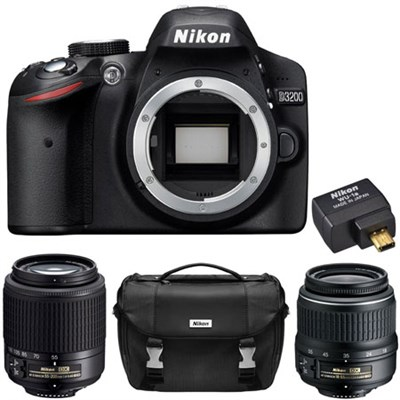 Refurbished D3200 24.2MP D-SLR with 18-55 & 55-200 Lenses, WiFi Adapter & Case