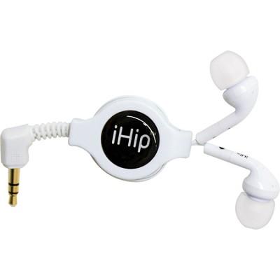 Portable Retractable Stereo Earphones (White)