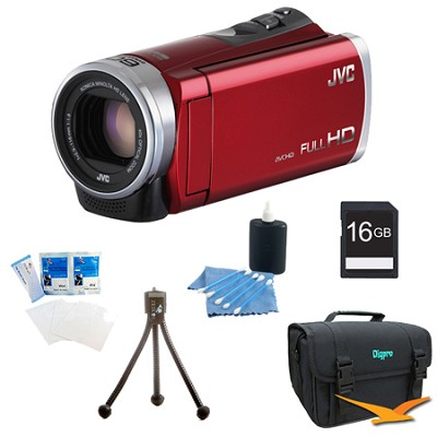 GZ-E300RUS- HD Everio Camcorder 40x Zoom f1.8 (Red) with 16GB Bundle