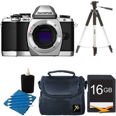 OM-D E-M10 Mirrorless Micro Four Thirds Digital Camera Body Only Silver Kit