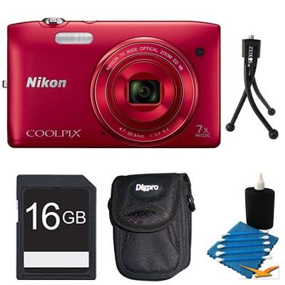 COOLPIX S3500 Red Digital Camera 16GB Bundle