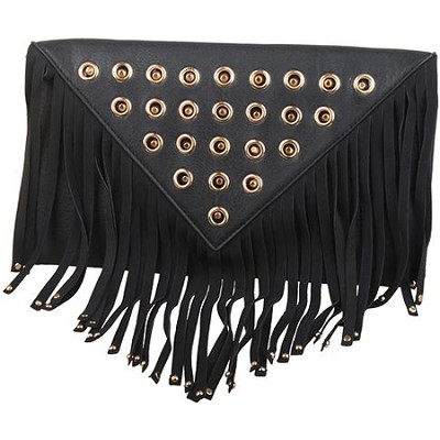 Fringe Clutch with Gold Detail Hardware in Black