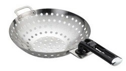 CW-128 8-Inch Stainless Steel Grilling Wok with Removable Handle