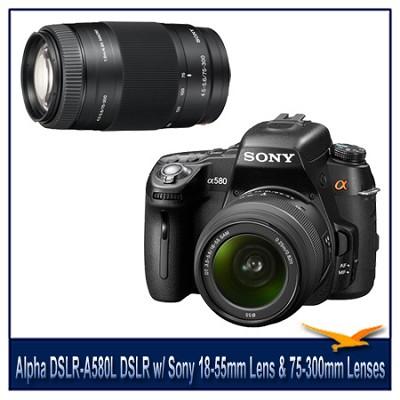 Alpha DSLR-A580L 16.2 MP DSLR Camera w/ Sony 18-55mm Lens & 75-300mm Zoom Lens