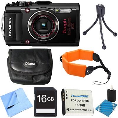 TG-4 16MP 1080p HD Waterproof Digital Camera Black 16GB Memory Card Bundle