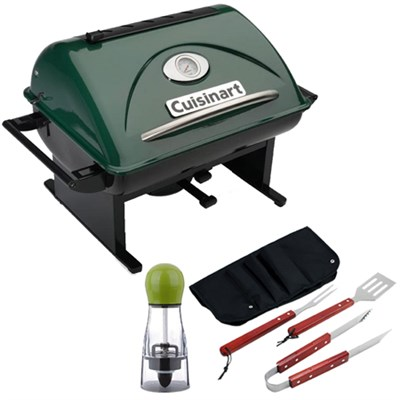 GrateLifter Portable Charcoal Grill with Carteret BBQ Apron tool & Spice Mill
