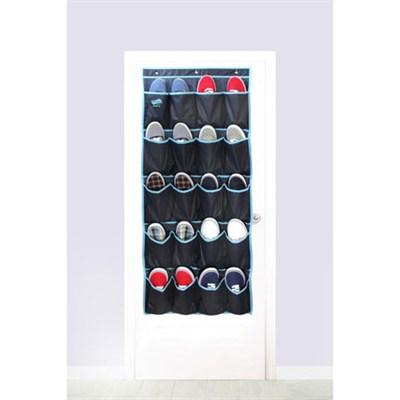 Home 20 Pocket Over the Door Shoe Organizer - Navy Blue with Light Blue Trim