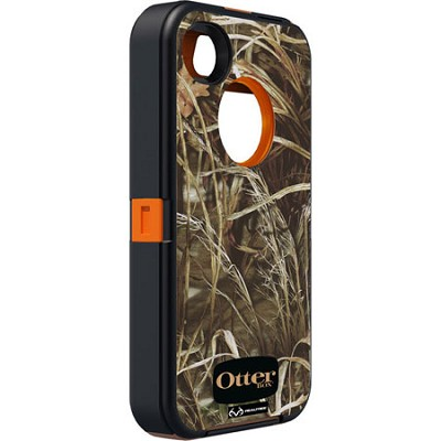 OB iPhone 4/4S Defender - Blaze Orange / Max 4 Camo Pattern