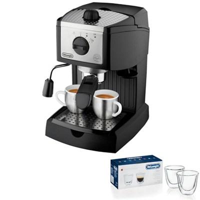 EC155 15 Bar Pump-Driven Espresso Machine 2 Glass Bundle