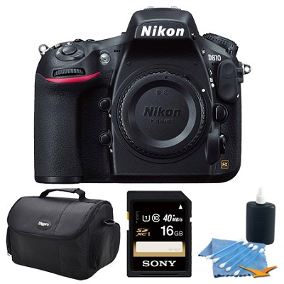 D810 36.3MP 1080p HD DSLR Camera 16GB Bundle w/ Case & Cleaning Kit - Body Only