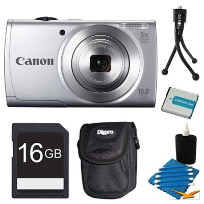 Powershot A2500 Silver Digital Camera 16GB Bundle