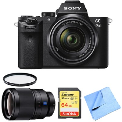 Alpha 7II Mirrorless Interchangeable Lens Camera 35mm Prime Lens Bundle