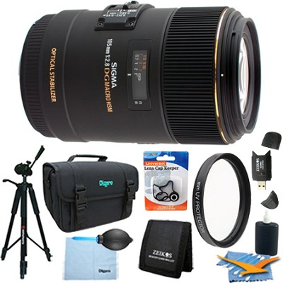 105mm F2.8 EX DG OS HSM Macro Lens for Canon EOS DSLR (258-101) Lens Kit Bundle