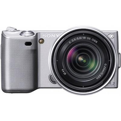 Alpha NEX-5 Interchangeable Lens Silver Digital Camera w/ 18-55mm Lens- OPEN BOX
