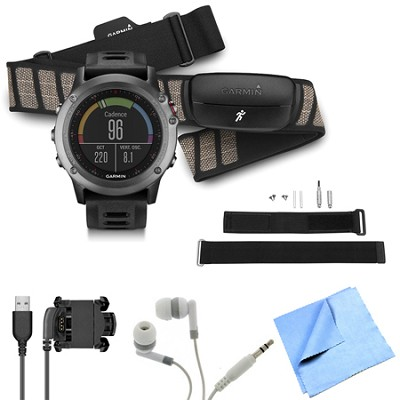 fenix 3 Multisport Training GPS Watch w/ Heart Rate Monitor Wrist Strap Bundle