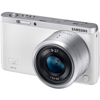 NX Mini Mirrorless Digital Camera with 9-27mm Lens and Flash - White - OPEN BOX