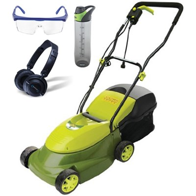 Mow Joe 14` 12-Amp Electric Lawn Mower w/ Grass Catcher & Accessories Bundle