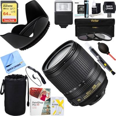 18-105mm f/3.5-5.6G ED AF-S VR DX Zoom-Nikkor Lens + 64GB Ultimate Kit