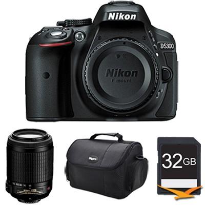 D5300 DX-Format 24.2 MP DSLR Body (Black) with 55-200mm VR Lens Bundle