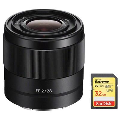 FE 28mm F2 E-mount Full Frame Prime Lens w/ 32GB Extreme SDXC Memory Card