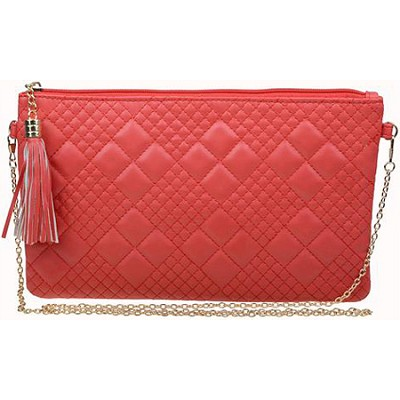 Quilted Clutch with Removable Chain Handle in Red
