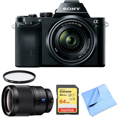 a7K Full-Frame Mirrorless Camera with FE 28-70mm Lens 35mm Prime Lens Bundle