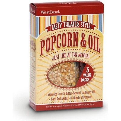 PC10517 3-Pack Theater Style Popcorn and Oil