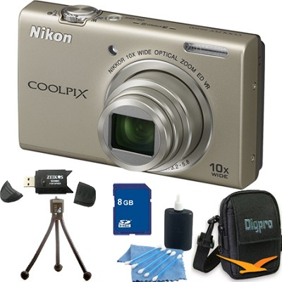 COOLPIX S6200 Silver 10x Zoom 16MP Camera 8GB Bundle