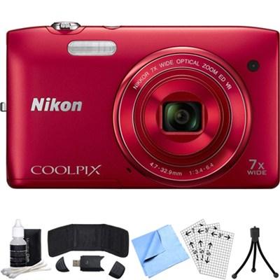 COOLPIX S3500 20.1MP Digital Camera w/ 720p HD Video (Red) Refurbished Bundle