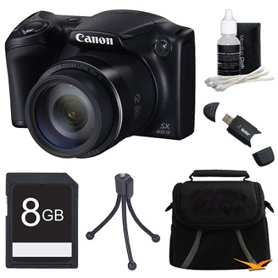 Powershot SX400 IS 16MP 30x Optical Zoom Digital Camera 8GB Bundle - Black
