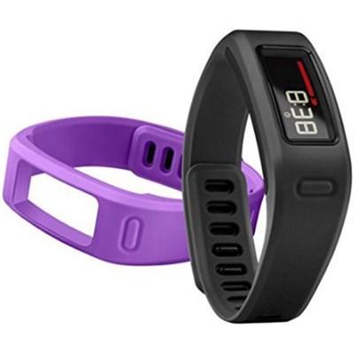 Vivofit Fitness Tracker w/ 4 Bands Total (2 Large, 2 Small Purple & Black)