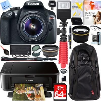 EOS Rebel T6 DSLR Camera with 18-55mm IS II Lens + Canon PIXMA Printer Bundle