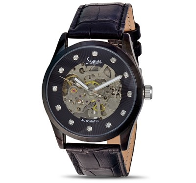 72083- Mens Automatic  Leather band Skl  Watch
