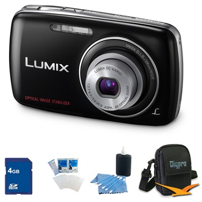 Lumix DMC-S3 14MP Compact Black Digital Camera w/ 720p HD Video 4GB Bundle
